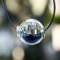 Dichroic art glass necklace, 'Ocean Secrets' - Dichroic art glass necklace
