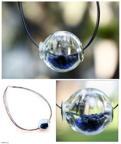 Dichroic art glass necklace, 'Ocean Secrets' - Dichroic art glass necklace