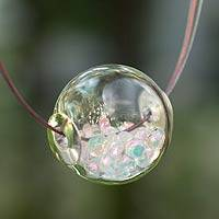 Dichroic art glass necklace, 'Secrets' - Dichroic art glass necklace