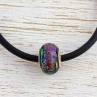 Dichroic art glass necklace, 'Mexican Jungle' - Dichroic art glass necklace