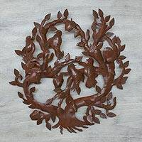 Iron wall sculpture, 'Eden Tree' - Hand Crafted Wall Art Branches and Birds