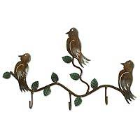 Iron key holder, 'Three Happy Birds' - Steel Bird Coat and Key Holder