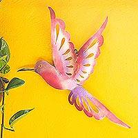 Steel wall sculpture, 'Violet Hummingbird' (large) - Bird-Themed Steel Wall Sculpture in Pink from Mexico (Large)