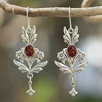 Carnelian dangle earrings, 'Romance' - Sterling Silver Carnelian Earrings