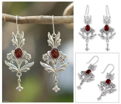 Carnelian dangle earrings, 'Romance' - Sterling Silver Carnelian Earrings