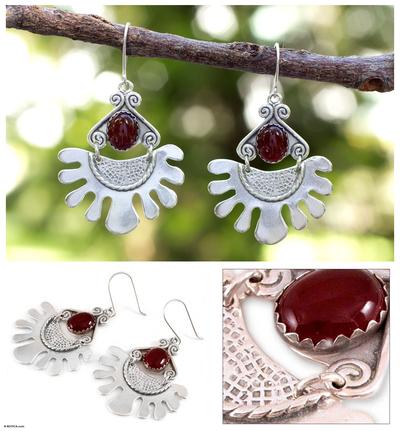Carnelian dangle earrings, 'One Planet' - Carnelian dangle earrings