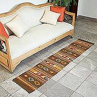 Zapotec wool rug, 'Earth Horizon' (1.5x6.5) - Authentic Zapotec Wool Area Rug (1.5x6.5)