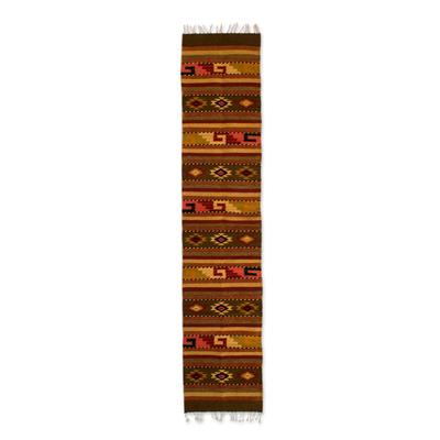 Zapotec wool rug, 'Earth Horizon' (1.5x6.5) - Authentic Zapotec Wool Area Rug (1.5x6.5)