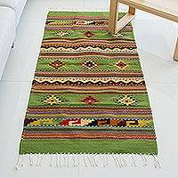 Zapotec wool rug, 'Oaxaca Forest' (2.5x5.5)