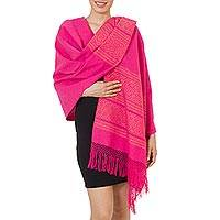 Zapotec cotton rebozo shawl, 'Hot Pink Zapotec Treasures' - Unique Hot Pink Cotton Patterned Shawl Handwoven in Mexico