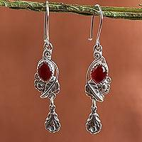 Carnelian flower earrings, 'Passion Flower' - Carnelian flower earrings
