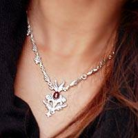 Carnelian floral necklace, 'Romance' - Floral Carnelian Sterling Silver Pendant Necklace