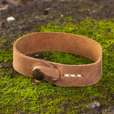 Men's leather wristband bracelet, 'Quality' - Men's Leather Wristband Bracelet from Mexico