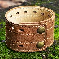Men's leather wristband bracelet, 'Riverbank' - Men's Hand Made Leather Wristband Bracelet