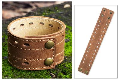 Men's leather wristband bracelet, 'Riverbank' - Men's Hand Made Leather Wristband Bracelet