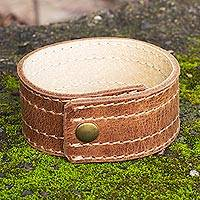 Men's leather wristband bracelet, 'Dexterity' - Men's Hand Made Leather Wristband Bracelet