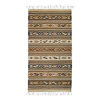 Zapotec wool rug, 'Cinnamon Glyphs' (2.5x5) - Zapotec Handwoven Organic Dyed Wool Rug in Natural Shades of