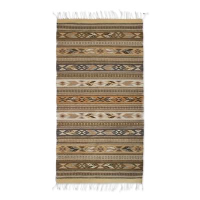 Zapotec wool rug, 'Cinnamon Glyphs' (2.5x5) - Zapotec Handwoven Organic Dyed Wool Rug in Natural Shades of