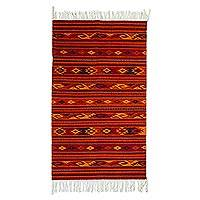 Zapotec wool rug, 'Sunset Glyphs' (2.5x5) - Zapotec wool rug (2.5x5)