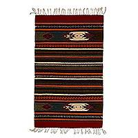 Zapotec wool rug, 'It's a Colorful Life' (2x3.5)