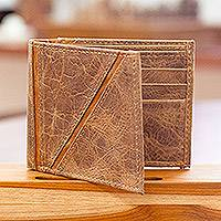 Men's leather wallet, 'Minimalist in Brown'