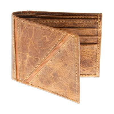 Mens leather wallet, Minimalist in Brown