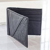 Men's leather wallet, 'Minimalist in Black' - Men's Hand Crafted Leather Wallet