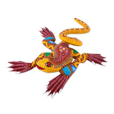 Alebrije sculpture, 'Rainbow Iguana' - Hand Crafted Mexican Folk Art Yellow Lizard Sculpture