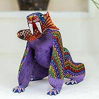 Alebrije sculpture, 'Zapotec Saber-Toothed Tiger' (2 pieces) - Alebrije sculpture (2 Pieces)