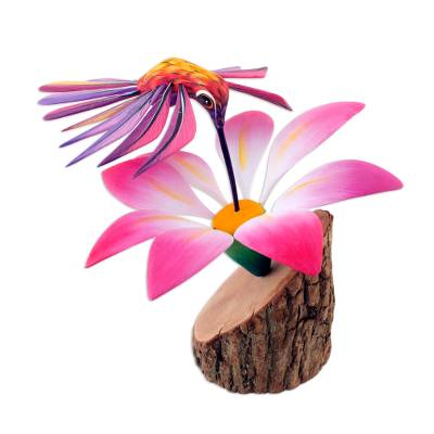 Alebrije sculpture, 'Happy Hummingbird' - Handmade Floral Wood Bird Sculpture