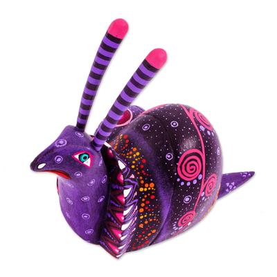 Alebrije sculpture, 'Oaxaca Snail' - Handcrafted Mexican Folk Art Alebrije Sculpture