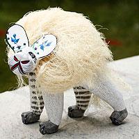 Alebrije sculpture, 'Hairy Lion' - Unique Handmade Wood Wild Cat Sculpture