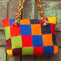 Zapotec wool shoulder bag, 'Cubic Fantasy' - Zapotec wool shoulder bag