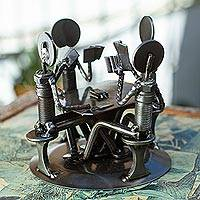 Auto part sculpture, 'Rustic Poker Game' - Recycled Metal Poker Sculpture
