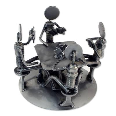 Auto part sculpture, 'Rustic Poker Game' - Card Players Handcrafted Recycled Metal Sculpture