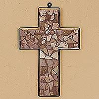 Marble mosaic cross, 'Country Gospel' - Marble mosaic cross