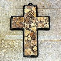 Marble mosaic cross, 'Wheat' - Marble mosaic cross