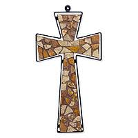 Marble mosaic cross, 'Autumn Faith' (large) - Marble mosaic cross (Large)