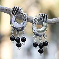 Onyx dangle earrings, 'Peacock Dance'