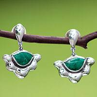 Chrysocolla dangle earrings, 'Distant Hills' - Unique Sterling Silver Chrysocolla Earrings