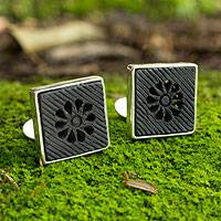 Sterling silver and ceramic cufflinks, 'Black Blossom' - Mexican Ceramic and Sterling Silver Mens Cufflinks