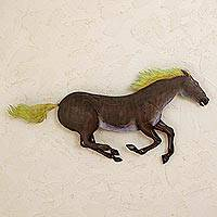 Steel wall art, 'Wild Horse' - Handcrafted Mexican Horse Wall Sculpture