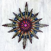 Steel wall art, 'Psychedelic Sun' - Hand Crafted Steel Wall Art from Mexico