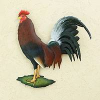 Steel wall art, 'Proud Rooster'