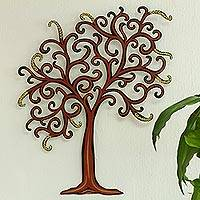 Steel wall art, 'Willow' - Fair Trade Steel Willow Tree Wall Art