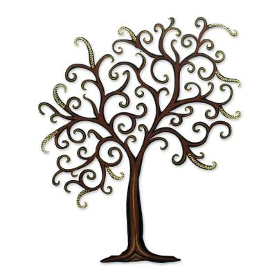 Steel wall art, 'Willow' - Unique Leaf and Tree Steel Wall Art