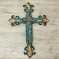 Steel wall art, 'Royal Cross' - Dazzling Blue and Gold Cross