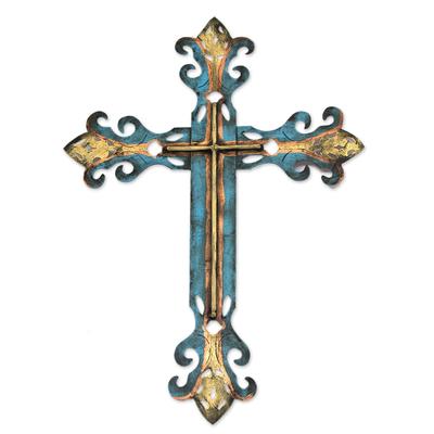 Steel wall art, 'Royal Cross' - Handcrafted Blue Religious Cross