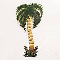 Steel wall art, 'Rustling Palm Tree' - Collectible Mexican Steel Wall Art