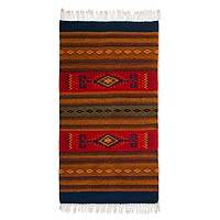 Zapotec wool rug, 'Oaxaca Dawn' (2.6x5) - Hand Made Zapotec Red Wool Area Rug (2.6x5)